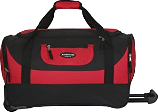 "20"" Adventure Rolling Duffel with 2 Large Deep-End Side Accessory Pockets, 2-Tone Red Color Option"