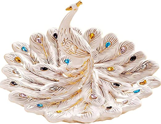 beige Smono Frutero de cer/ámica Plato de frutas creativo de tres capas m/últiples capas Plato de cer/ámica para frutos secos Marco de madera de bamb/ú Plato de sushi para el hogar