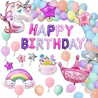 comprar comparacion Unicornio Decoraciones Cumpleaños de Fiesta para Niños, Enormes 3D Globos de Unicornio Cumpleaños Estandarte,Globos de Lát...