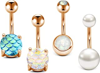 14G Stainless Steel Belly Button Rings for Women Girls Navel Rings Mermaid Fish Scale Faux Opal Pearl Body Piercing