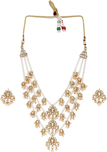 Ethnic Kundan Pearls Multi Layers Bridal Necklace Set For Women ZPFK8689