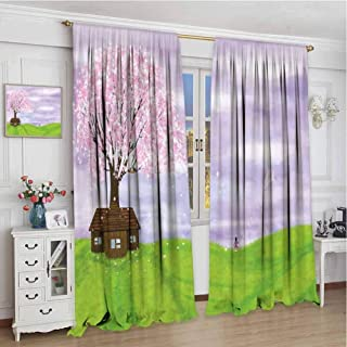 GUUVOR Nature Blackout Curtain Set Single House by Blooming Spring Tree and Little Girl with Kite Idyllic Picture Kindergarten Shading Insulation W96 x L84 Inch Lime Green Lilac