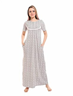Andora Floral-Pattern Crochet-Panel Short Sleeves Maxi Nightgown for Women
