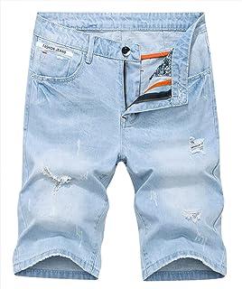 KLJR Men Casual Straight Leg Pockets Slim Fit Solid Color Denim Shorts Jeans