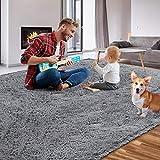 Qumig Area Rug Ultra Soft Shag Rug Non-Slip Fluffy Rugs 5.3x7.5 Feet Gray Carpet Indoor Plush Rugs for Bedroom Living Room Kids Room Nursery Rugs Modern Indoor Home Decor Floor Carpet