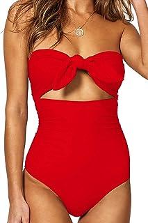 cb5ae35c51 QINSEN Womens Sexy Strapless Tie Knot Front High Waist One Piece Swimsuit
