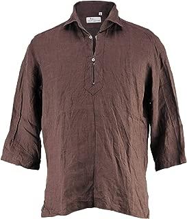 [Mario Muscariello マリオムスカリエッロ] メンズ リネン 七分袖 カプリシャツ CAPRI 3/4 WASHED R2MC146(ブラウン)