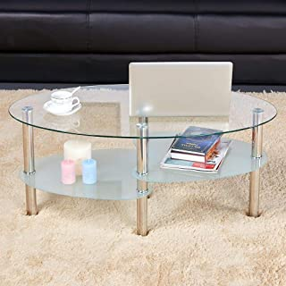 go2buy 3 Tier Modern Round Glass Top Cocktail Coffee Table Living Room Oval Glass Side End Table with Chrome Finish Metal Base/Legs Furniture