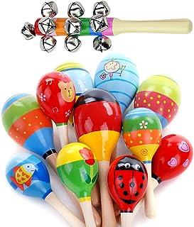 Maracas de madera con 1 campana de mano para niños y adultos, para fiestas, coloridas, para fiestas, aulas, instrumentos musicales de percusión