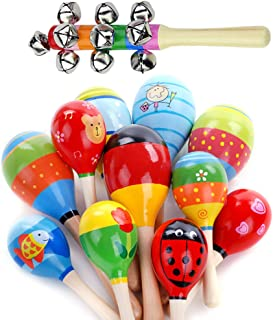 12 Pcs Wooden Maracas with 1 Pc Hand Bell Set for Kids Baby Adult,Party Favors Colorful Mini Maracas Noisemaker for Fiesta Classroom Musical Percussion Instrument