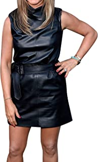 Royale Leather Celebrity Bodycon Casual Cowhide Real Leather Sexy Party and Club Women Dress