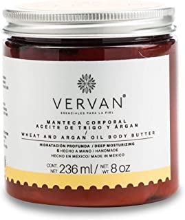 Vervan Natural Wheat & Argan Oil Body Butter Lotion, 24 Hours Moisturizing for Body Care, Facial Skin Care, Hand Moisturizer Fast Absorption NO Greasy Feeling 8 Oz