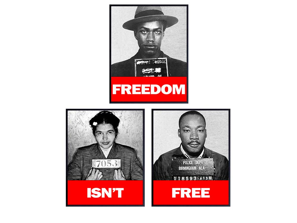 Black Leaders, African American Wall Art Prints - 3-8x10 Vintage Photos -Decor for Classrooms or Home -Great Gift for Black History Month- Martin Luther King Jr, Malcolm X, Rosa Parks, MLK -UNFRAMED