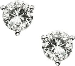 Forever Brilliant 14K White Gold Round Moissanite Three Prong Stud Earrings by Charles & Colvard