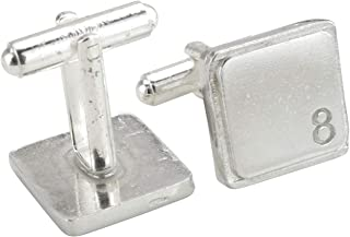 Square Cufflinks with '8' Engraved - 8th Anniversary