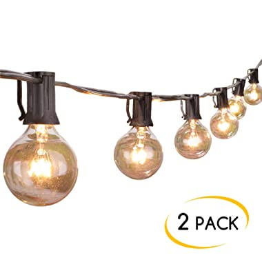 Brightown Outdoor String Lights-2 Pack 25Ft G40 Globe Patio Lights with 26 Edison Glass Bulbs(1 Spare), Waterproof Connectable Hanging Light for Backyard Porch Balcony Decor, E12 Socket Base, Black
