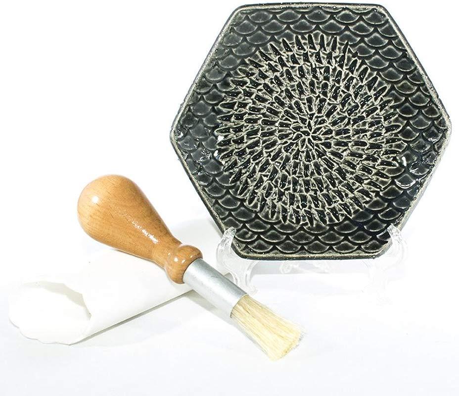 The Grate Plate 3 Piece Handmade Ceramic Garlic Grater Set Grater Peeler Brush
