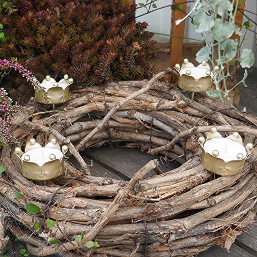 Gartenzaubereien Teelichthalter Krone 4er Set, Gold