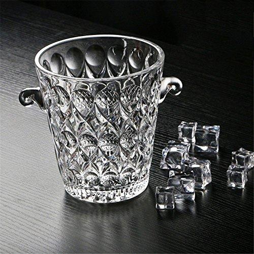 FTC Ice Bucket Seau à Glace en Verre Cristal Champagne KTV avec des glaçons avec poignée et Clip de Glace, gouttelettes d'eau