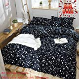 Softta Shabby Floral Series Farmhouse Vine Flower Sketch White Leaves and Flowers Black Background Zipper Closure Twin Size 3-Pieces 1 Quilt Cover + 2 Pillowcase Bedding Set Simple Life