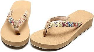 AUCDK Women Flip Flops Casual Style Wedge Heel Clip Toe Sandals Platform Thongs Sandals Summer Beach Shoes