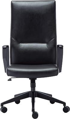 Amoiu Silla Oficina con Alto Respaldo Silla de Escritorio Silla Ergonómica de Cuero Sintético, Negro