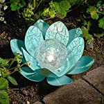 Auraglow Solar Powered Garden Metal & Glass Water Lily Lotus Flower LED Light Lantern Outdoor Table Lamp - Green
