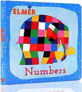 英?#33041;?#29256; Learn Numbers with Elmer 和艾玛一起学数字 纸板书绘本0-3岁David Mckee大卫麦基 低幼儿启蒙绘本