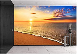 wall26 - Beautiful Tropical Sunrise on The Beach. - Removable Wall Mural | Self-Adhesive Large Wallpaper - 100x144 inches