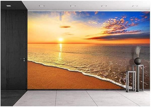 Wall26 美丽的热带日出海滩上的可移动墙贴壁画自粘壁纸大 100 厘米点 ¯ x 144 英寸
