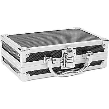 KINJOHI Mini caja de herramientas de caja de vuelo de aluminio Caja de almacenamiento de aluminio pequeña portátil para transporte de viaje Craftsman (negro, 215 * 215 * 65mm): Amazon.es: Bricolaje y herramientas