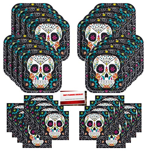 Skull Candy Day of The Dead Halloween Birthday Party Supplies Bundle Pack for 16 Guests (Plus Party Planning Checklist by Mikes Super Store)