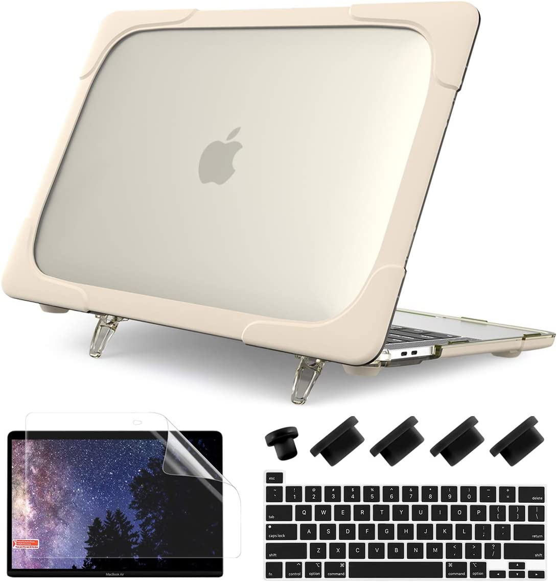 Batainda for MacBook Pro 13 Inch Case M1 A2338 A2289 A2251 (2020 Release), Heavy Duty Full Protection Hard Shell Cover with Fold Kickstand for New MacBook Pro 13'' Touch Bar & Touch ID,Khaki