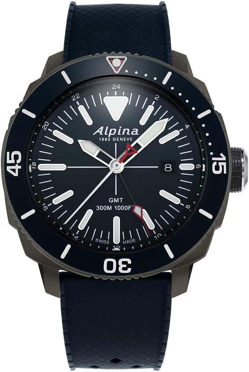 Alpina Geneve Seastrong Quartz GMT AL-247LNN4TV6 Reloj de Pulsera para Hombres