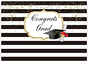 Allenjoy 7x5ft Durable Fabric Graduation Party Backdrop for Pictures Photography Class of 2019 Black and White Stripes Background Congrats Grad Prom Decorations Photo Shoot Studio Booth Props Banner