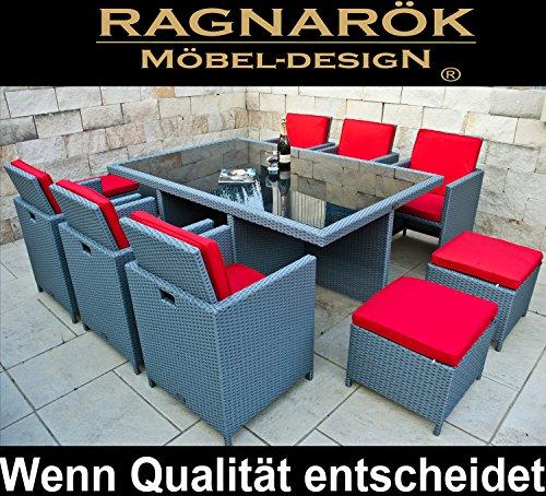 Ragnarök-Möbeldesign Polyrotan - Duits merk - eigen productie - 8 jaar garantie op UV-bestendigheid tuinmeubelen eetgroep tafel + 6 stoelen & 4 krukken 16 kussens Platinum grijs