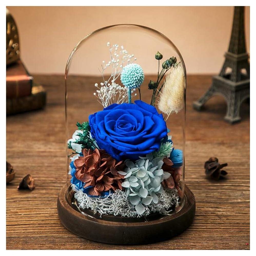 精神あいまいな驚HSBAIS 本物のバラで永遠の花 保存花プリザーブドフラワー ガラスポット、ライト LED フラワーアレンジドライフラワー 枯れない花 生花 最高の贈り物 木製ベース、母の日 飾り 誕生日 バレンタイン,Blue