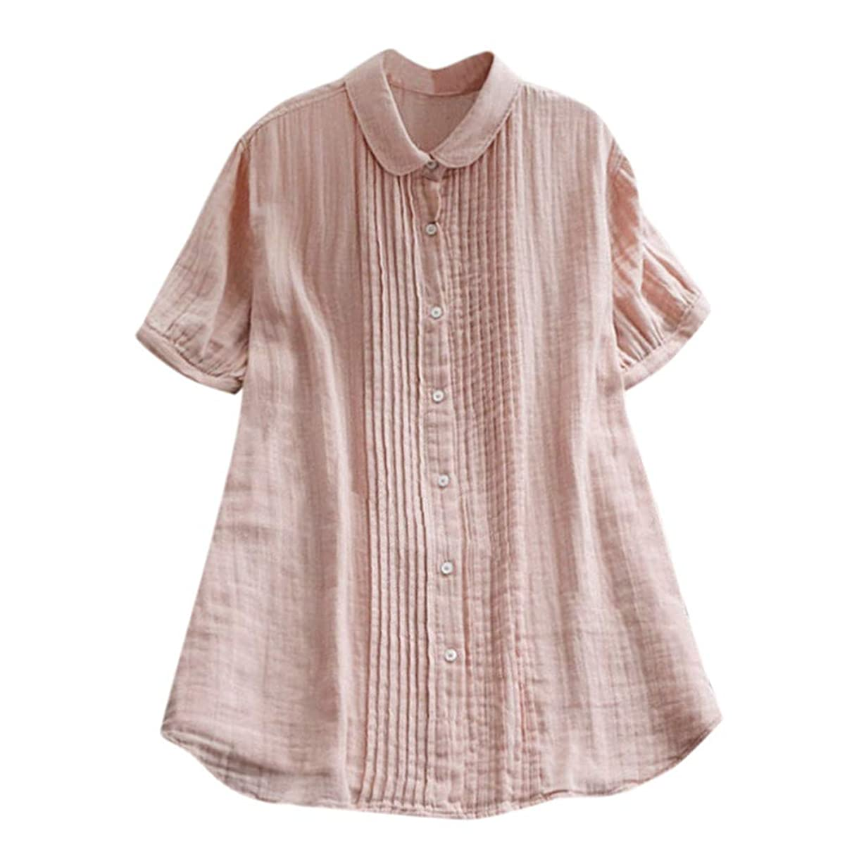 最初はメンタリティ人道的女性の半袖Tシャツ - ピーターパンカラー夏緩い無地カジュアルダウントップスブラウス (ピンク, M)