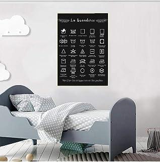 ZYQYQ Tableau Décoration Murale Français blanchisserie symbole signe imprime noir blanc Affiche Buanderie photo peinture b...