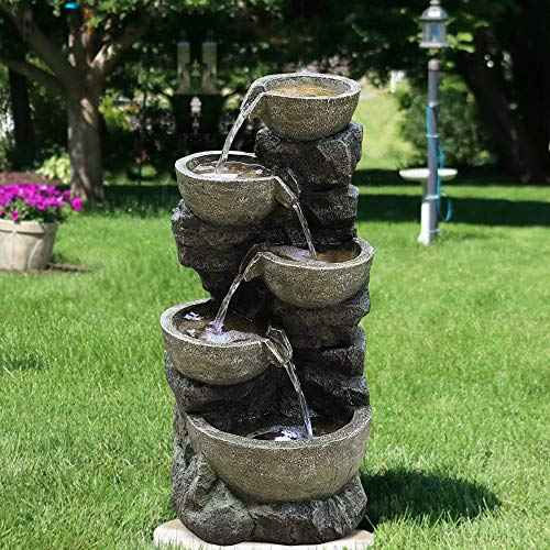 "PeterIvan Outdoor Water Fountain - 32"" H 5 Urns Falling Water Indoor Outdoor Fountain with Lights 