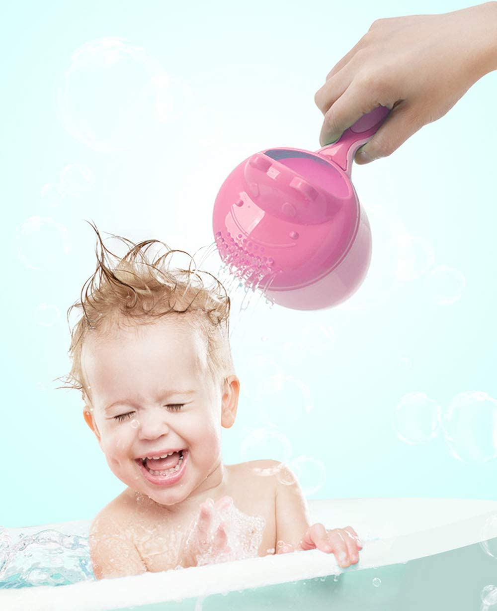 Rinse Shampoo Rinser Baby Rinse Cup Baby Bath Rinser Wash Hair Cup by Protecting Infant Eyes (Pink)