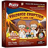 Playz Volcanic Eruption & Lava Lab Science Experiments Kit - 22+ Tools to Make Lava Bombs, Volcano Eruptions, Fizzing Mineral Pools, Fake Poison Gas, & Crystal Deposits for Boys, Girls, & Teenagers