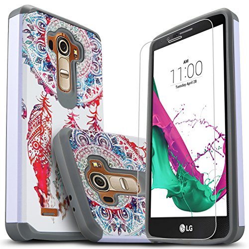 LG G4 Case with [Premium HD Screen Protector Included], Starshop [Shock Absorption] Dual Layers Impact Advanced Protective Phone Cover (Light Blue Lace)