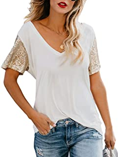 Topstype Women's Sequin Short Sleeve Tee V Neck T Shirts Sequin Loose Blouse Tops