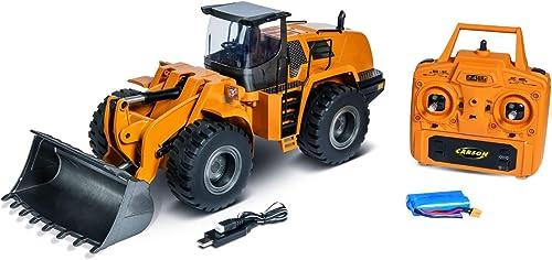 Carson 500907414 500907414-1 14 Metall Radlader 10 Kanal RTR, RC Lader, Modellbau, Ferngesteuertes Baufürzeug, Sound und Licht, USB Ladeger  gelb
