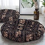 ANTJUMPER - Cojín redondo grande para suelo con diseño de mandala, tamaño grande, redondo, para sala de estar, lectura, cuarto de bebé, balcón, 55,8 cm, color negro