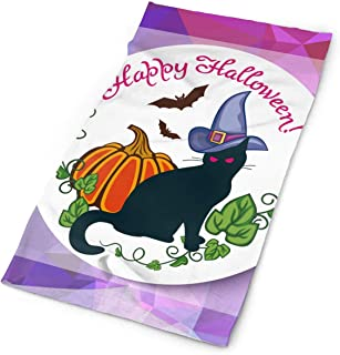 Mosaic Backdrop with Black Cat in Witch Hat, Pumpkin and Hand Drawn Text Happy Halloween Multifunctional Headwear - Works as Scarf, Neck Gaiter, Headband, Bandana,Face Mask -Breathable Moisture Wicki