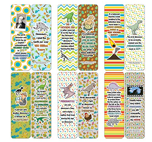 Dinosaur Facts Bookmarks (30-Pack)-Unique Stocking Stuffers Gifts for Boys & Girls, Unisex Adults - Cool Book Page Clippers Collection Set for Kids - Awesome Giveaways