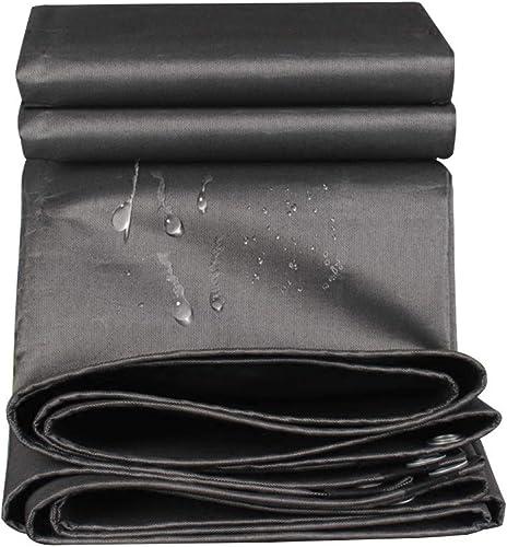 Zm Bache résistante imperméable et enduite imperméable de bache des Deux Côtés, Noir (Taille   3mx4m)
