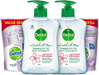 Dettol Jasmine Hand wash 200ml+175ml, Pack of 2 (co-Created with Moms)